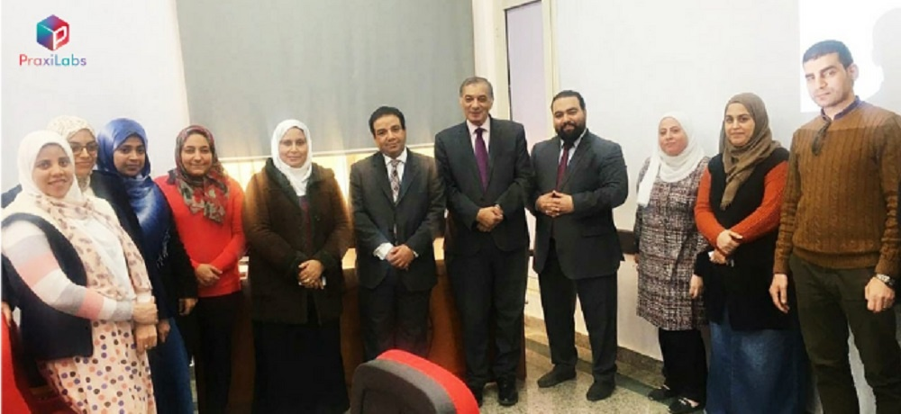 Members of the Faculty of Pharmacy, Sadat University, in a PraxiLabs lecture
