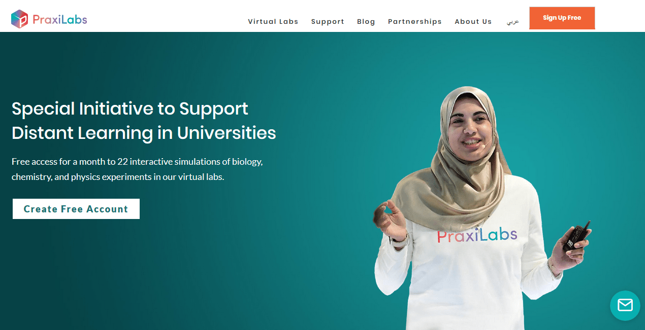 Praxilabs home page during 2020 initiative